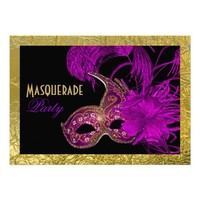 Masquerade Sweet Sixteen party purple gold foil Custom Invite from Zazzle.com