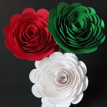 "Red White and Green Pizzeria Table Centerpieces set of 3 big 3"" roses on stems, Italian Restaurant Decor, Pizza shop Floral decorations, Italy theme"
