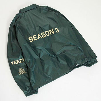 Yeezy season 3 invitation invite jacket from thegoldenlabel on yeezy season 3 invitation invite jacket kanye west tlop merch olive green yeezus tour stopboris