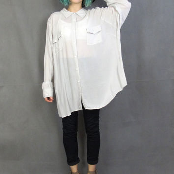 90s Ghost Grey Button Down Shirt Minimalist Semi Sheer Slouchy Oversized Shirt Long Sleeve Collared Shirt Soft Paper Thin Blouse (L/XL)
