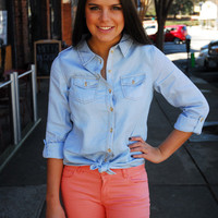 Sipping Champ Chambray Blouse - Cheeky Peach - A style and service boutique in Downtown Athens, Georgia