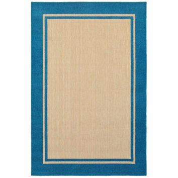 Oriental Weavers Cayman Sand Blue Border Outdoor Transitional Rug