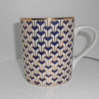 "Tiffany & Co Cup (S) Mug (S) Coffee ""Manhattan Blue"" 1994 Retired Fine China Dining Geometric Gold Gilt"