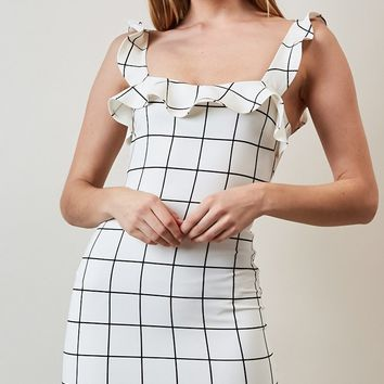Make Me Yours Sleeveless Ruffle Windowpane Plaid Pattern Square Neck Bodycon Mini Dress - 2 Colors Available (Pre-Order)