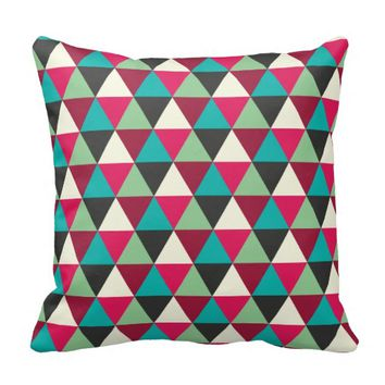 Muted Ethnic Colors Geometric Tribal Pattern Throw Pillows