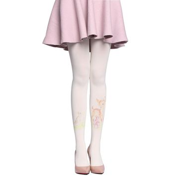 1PC New Arrrival Autumn/Winter New Women's Tights High Quality Lovely Forest Deer Printing 80D Velvet Women Ladies Pantyhose