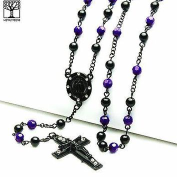 "Jewelry Kay style Men's Royal Indigo Bead Guadalupe & Jesus Cross 28"" Rosary Necklace HR 600 KKI"