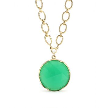 irene neuwirth - 18kt yellow gold necklace with rose cut chrysoprase and white diamond