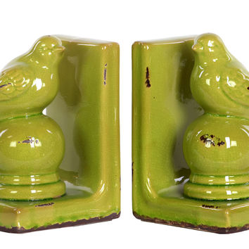 Stoneware Bird Figurine on Spherical Pedstal Bookend Assortment of Two Distressed Gloss Finish Yellow Green