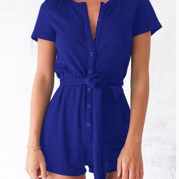 Womens Cool Casual Button Romper
