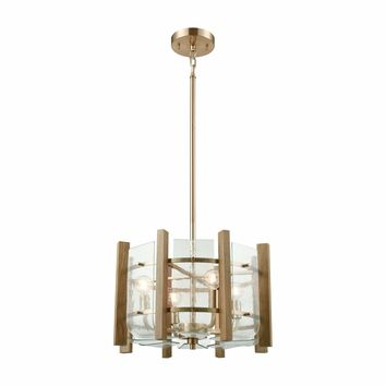 Vindalia 4 Light Chandelier In Satin Brass With Wood Slats And Curved Glass