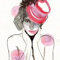 Original watercolor painting The Girl with the Red Hat Scary Face