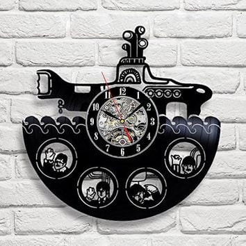 The Rock Band Vinyl Record Design Wall Clock  Rock Band Style Music Art Horloge Murale Home Decoration