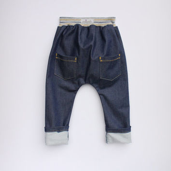 Baby Boy pants Denim pants Baby harem pants with knee patches Baby boy clothes Toddler boy pants Boys trousers Autumn pants