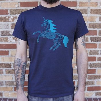 Mens Unicorn Skeleton T-Shirt