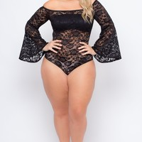 Plus Size Sia Floral Lace Bodysuit - Black