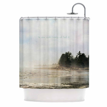 "Robin Dickinson ""He Who Seeks Beauty"" Coastal Shower Curtain"