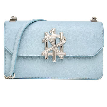 Light Blue Leather Shoulder Bag