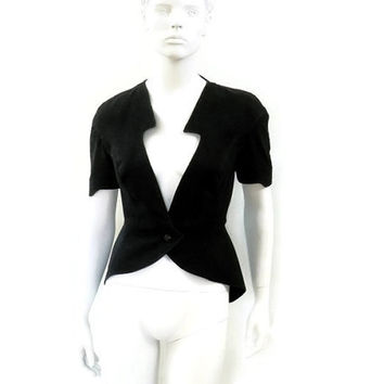 Thierry Mugler Sculptural Blazer ACTIV Black Denim with Keyhole and Peplum