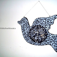 Dove of Peace Mosaic: Wall Hanging, Wall Art, Hippie, Bohemian, Peace Sign