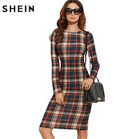 SHEIN Elegant Bodycon Dress Winter  Dress Fall Women Multicolor Plaid Pencil Dress