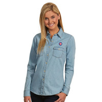 Antigua Chicago Cubs Women's Light Blue Chambray Long Sleeve Shirt