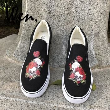 Wen Flower Shoes White Black Canvas Sneakers Lazy Wear Original Design Skull Roses Men Women Slip on Low Flats Christmas Gifts