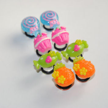 Sweets 0g (8mm) Acrylic Plugs, Ear Gauges, Women, Fun, Stretched Ears, Pretty, Food, Candy, Everyday, Cute, Plugs for Girls, CHOOSE COLOR
