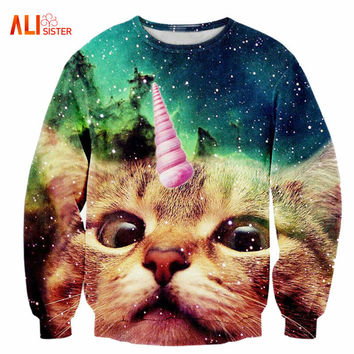 2017 New Fashion Men/women's Unicorn Cat Hoodie Winter/autumn 3d Galaxy Sweatshirts Clothes Harajuku Animal Sweatshirt