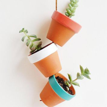 Desert Colors Tiny Hand Painted Terracotta Planter. Hanging 2 Mini Clay Pots. Terra Cotta Plant Home Decor. Featured On Apartment Therapy.