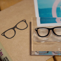 Hipster Glasses Rubber Stamp - 2x2 Inches