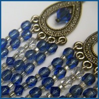 Chandelier Earrings Sapphire Czech Crystal Leverback