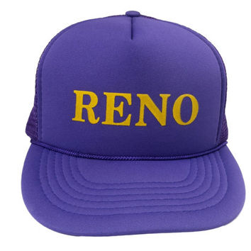 80s Reno Trucker Hat, Vintage Mesh Snapback Cap Retro Tourist Souvenir Nevada, 1980's Clothing Accessories, Headmost Made in Taiwan