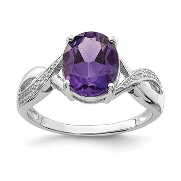 Sterling Silver Genuine 10x8mm Oval Amethyst & Diamond Ring