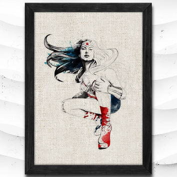 Justice League Watercolor Print Wonder Woman Poster Art Print Baby Room Illustrations Room Nursery Kids Room Gift Linen Poster CAP91