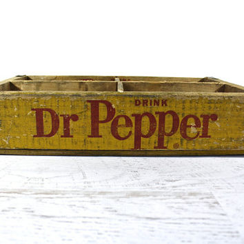Vintage Dr Pepper Pop Crate / Old Soda Wood Crate