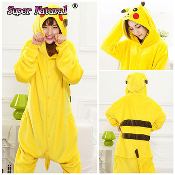 Cheap DHL Christmas Japan Adult Pokemon Pikachu Kigurums Cosplay Footed One Piece Pajamas Onesuit Costume Fleece Clothing XL