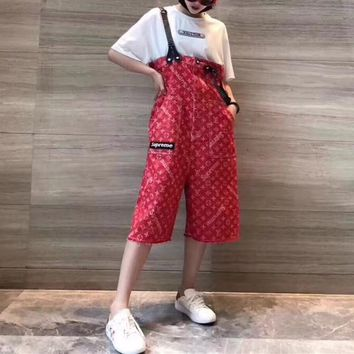 louis vutitton x supreme women casual fashion sleeveless denim back strap pants romper jumpsuit fifth pants jeans