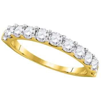 14kt Yellow Gold Womens Round Pave-set Diamond Wedding Band Ring 1.00 Cttw