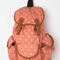 Carrot Tri-Pocket Polka Dot Backpack