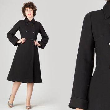 70s Black Princess Coat / Double Breasted Knit Coat / Classic Plain Minimalist 50s Style Small S Coat