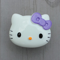 Hello Kitty Drawer Knobs / Cabinet Pull with Purple bow (TK04)