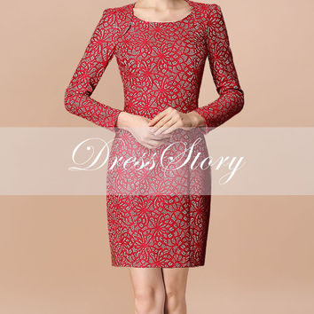 Long Sleeved Red Lace Mini Dress - Red Lace Dress - Lace Mini Dress - Red Lace Sheath Dress - 212