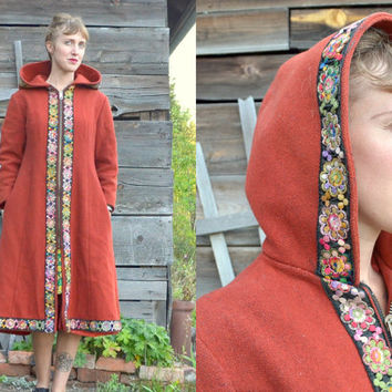 Vintage 60's Floral Embroidered Hippie Bohemian Hooded Toggle Coat Jacket