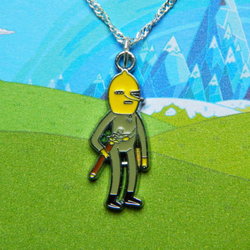 Adventure Time sterling silver necklace with Lemongrab charm  Free UK Postage!