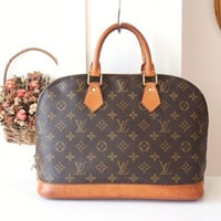 Louis Vuitton Alma monogram brown handbag authentic purse