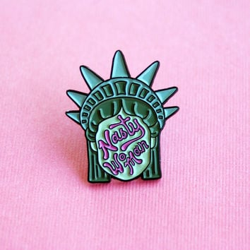 The Betty Collection: Nasty Woman Pin in Green and Pink