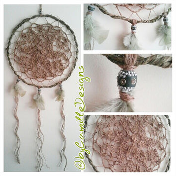Dream Catcher Sage Green and Brown Jute Wall Hanging READY TO SHIP