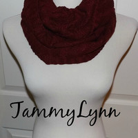 NEW!! Burgundy Chevron Knit Infinity Scarf Sweater Cowl Style Winter Womens Accessories
