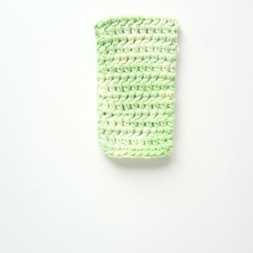 Mint Phone Cover. iPhone Case. Nexus Android Smartphone Sleeve Cozy Pouch. Mobile Cover Crochet.